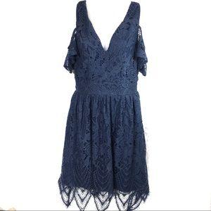 Charlotte Russe navy lace dress small sleeveless